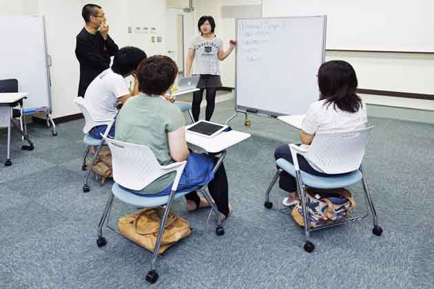 The University of Tokushima/【Investigations within a group】Discussions using a movable white board