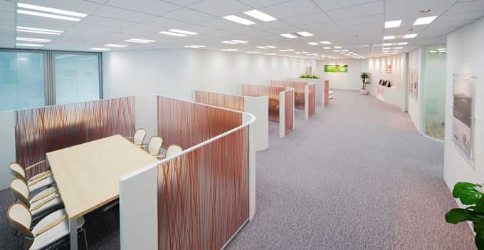 Nippon Meat Packers, Inc./【Entrance area】Bright reception space accented with CI colors