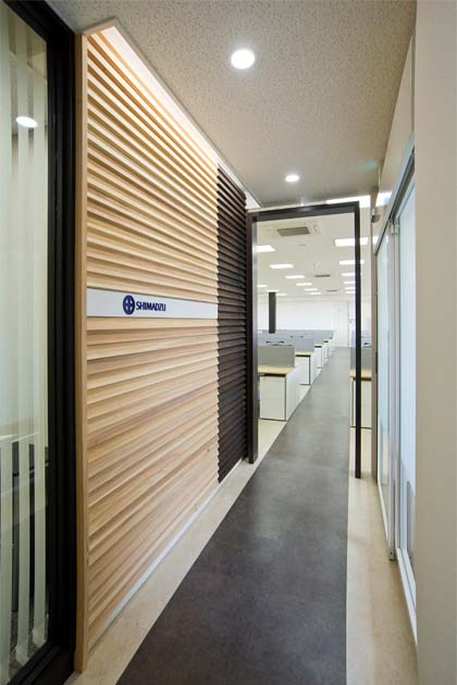 Shimadzu limited okamura 39 s designed workplace showcase for Office entrance design
