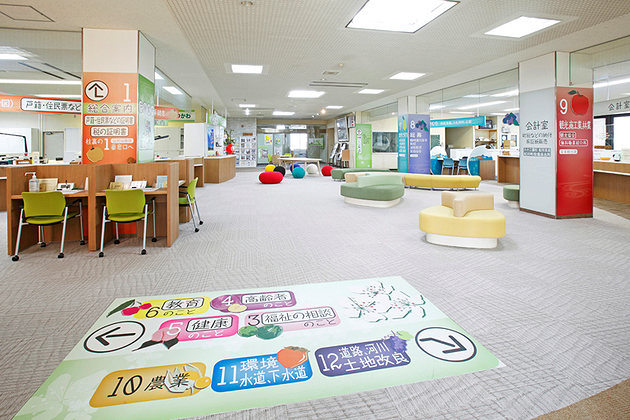 Town of Matsukawa in Nagano Prefecture/【Entrance area】Floor signs intuitively guide users to the service counter they are looking for.