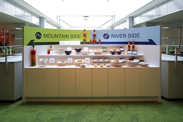 Sony Corporation/【Menu sample display】On this sample display, people can see the actual dishes being served that day.