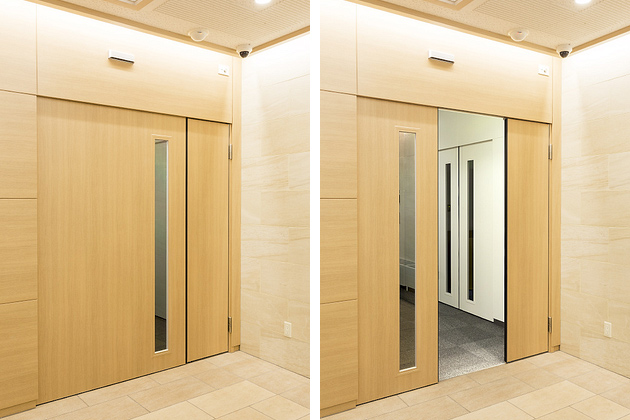Life Corporation/【Automatic door】These doors achieve both stronger security and smooth movement within the office.