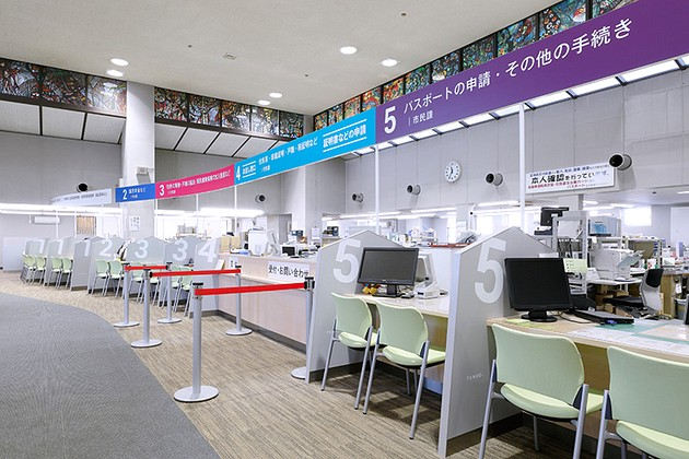 Tendo/【Resident service counters】Easy-to-understand color-coded signs indicate specific services.