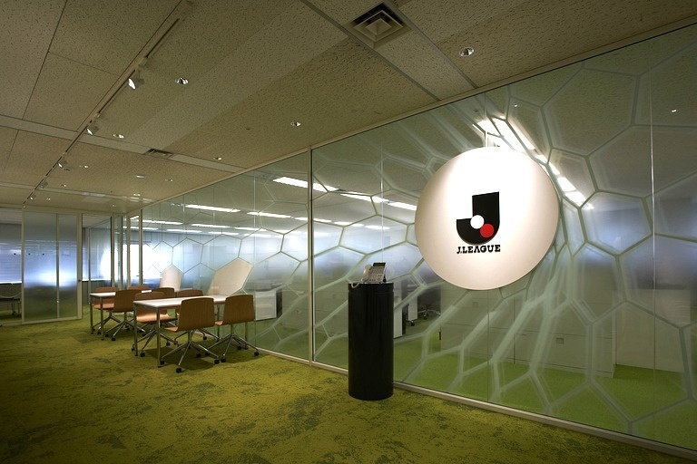 Japan Professional Football League/【Entrance 01】Entrance design of a ball striking the goal net.